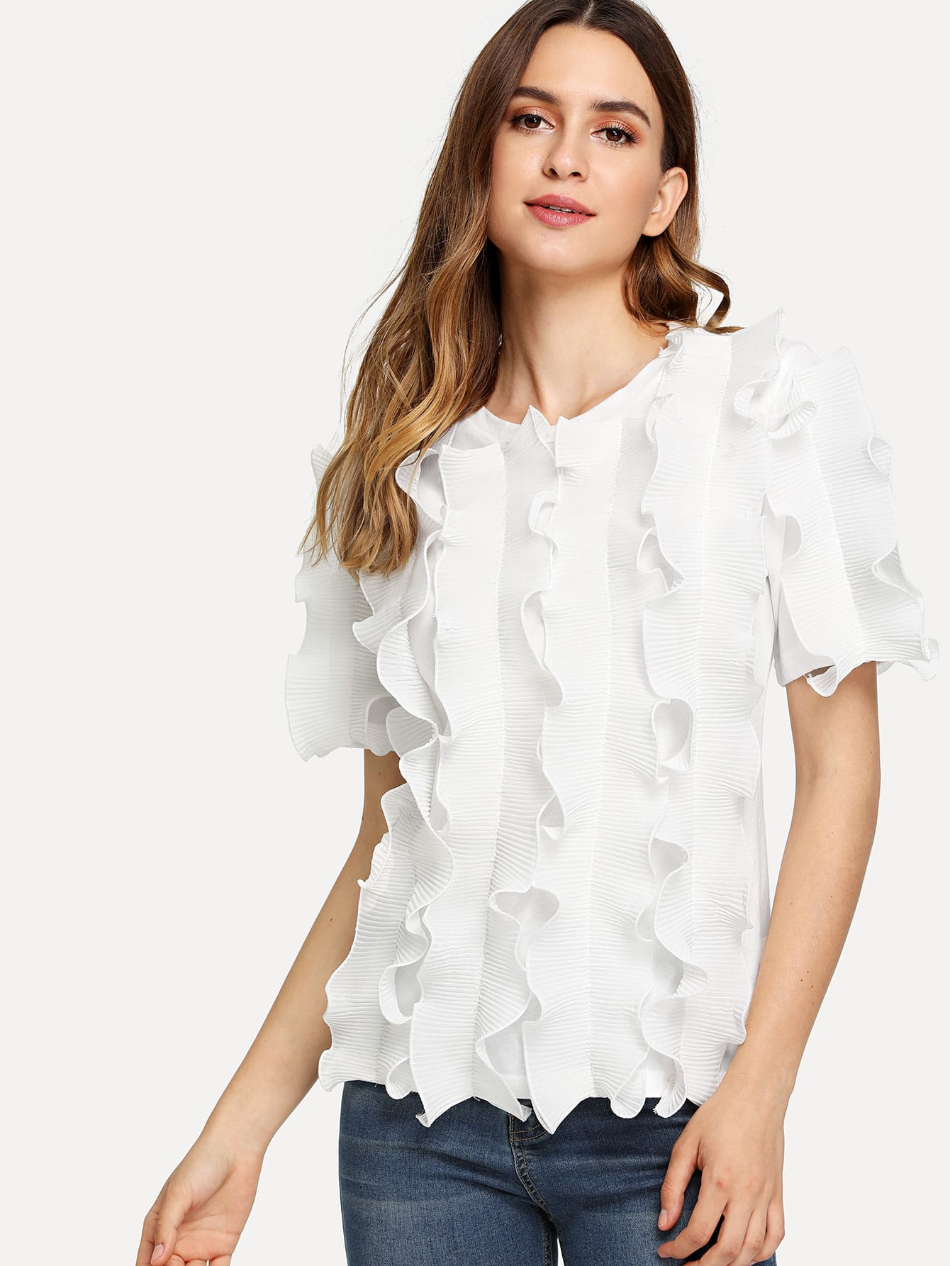 Round Neck Frill Trim Tee ruched neck frill sleeve ribbed tee