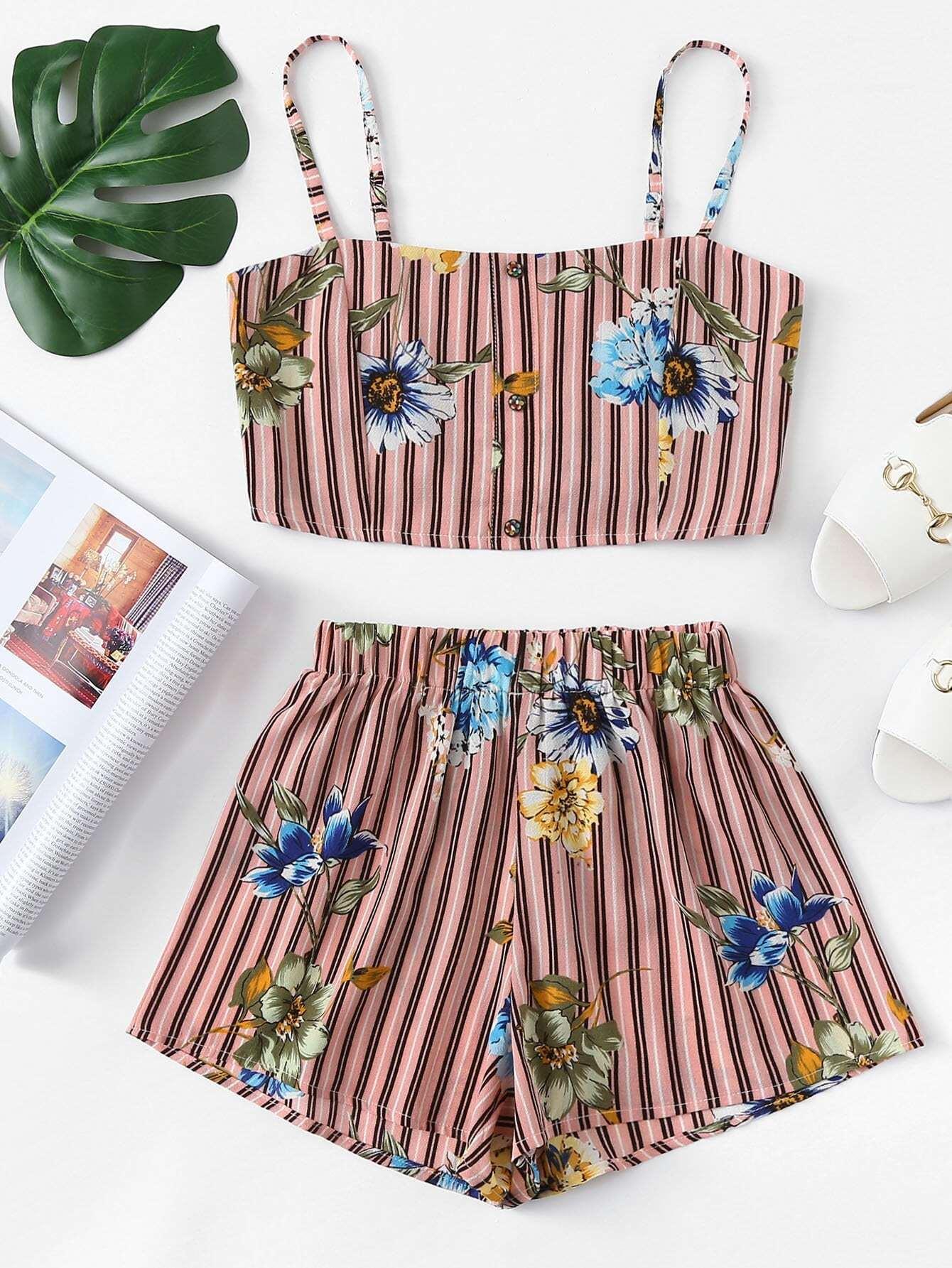 Floral Print Striped Cami Top With Shorts hanky hem floral print cami tank top
