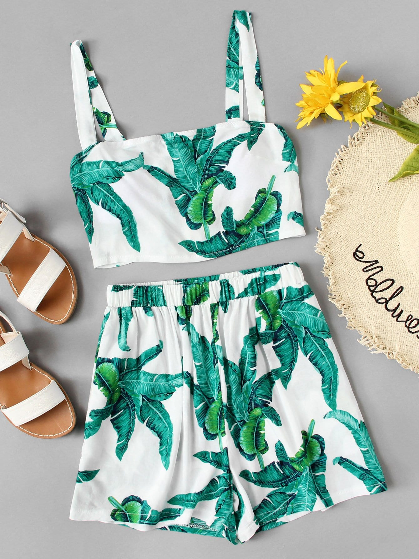 Tropical Print Cami Top With Shorts tropical print cami with pants