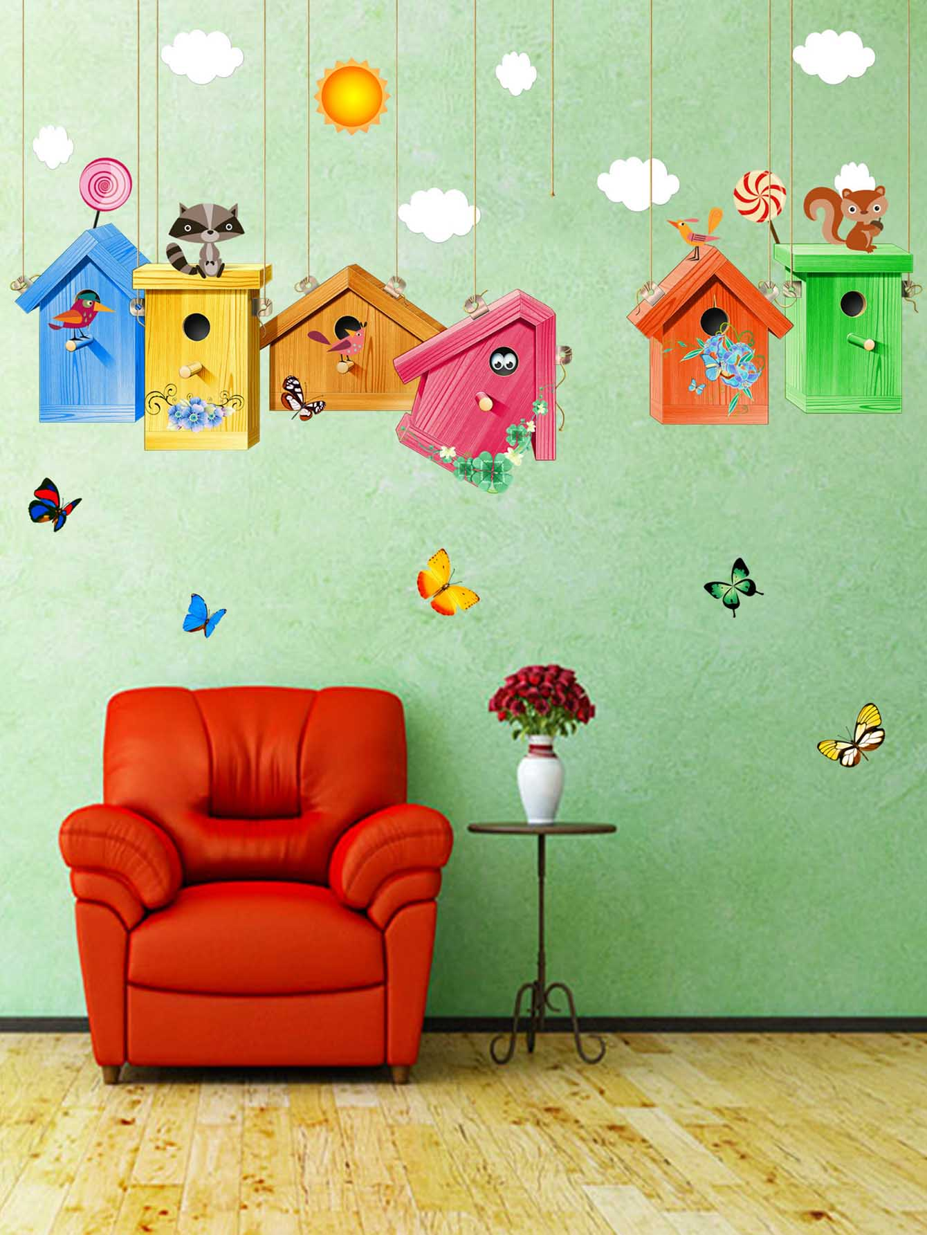 Cartoon Birdcage Wall Sticker the birdcage