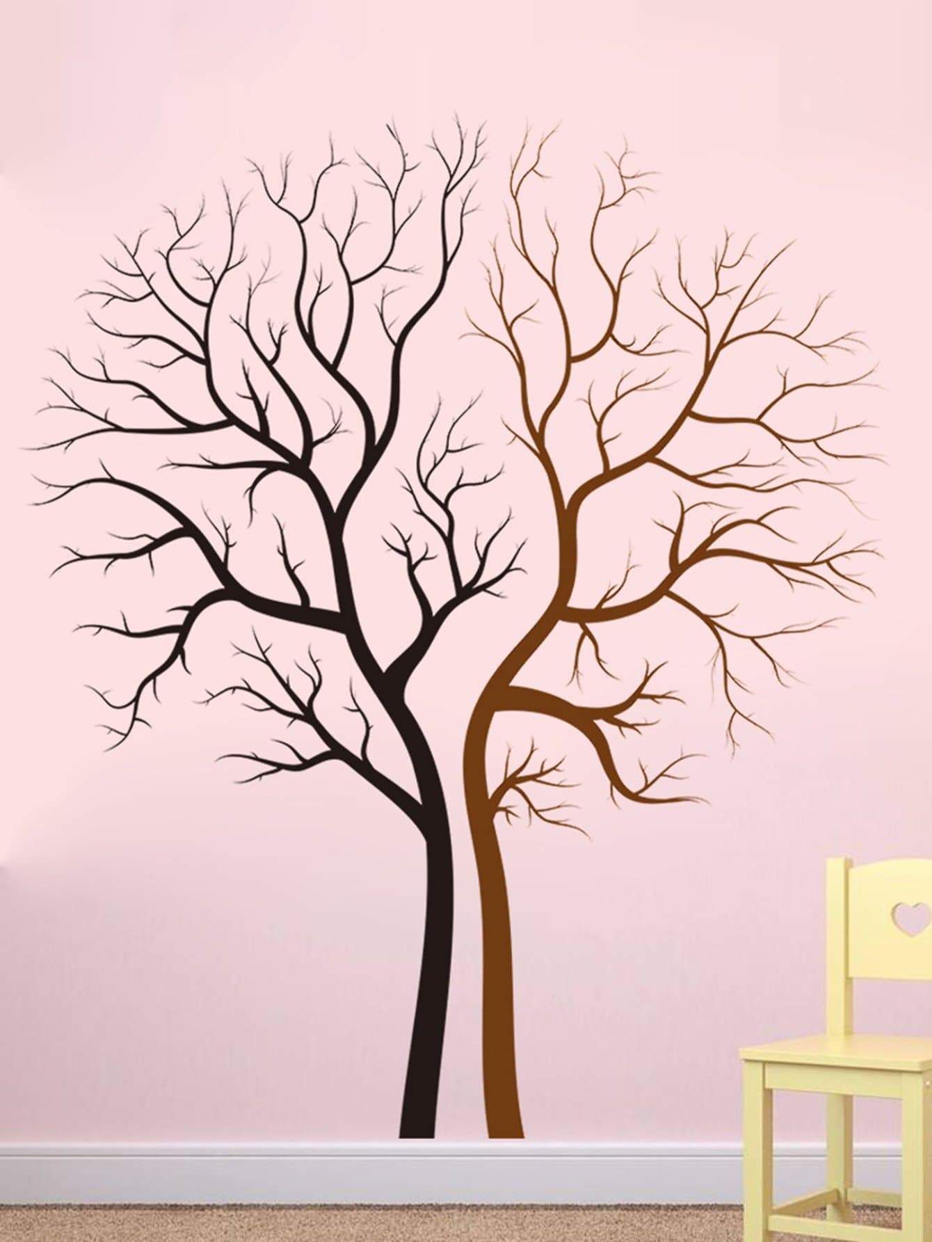 Two Tone Tree Wall Decal tree print asymmetric two tone t shirt