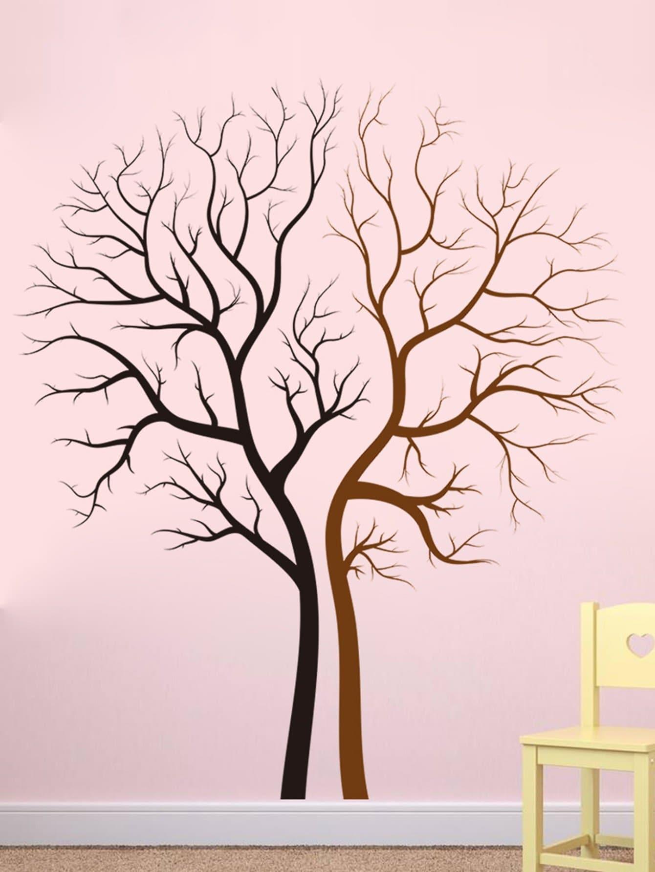 Two Tone Tree Wall Decal tree tone ежик с грушей 3