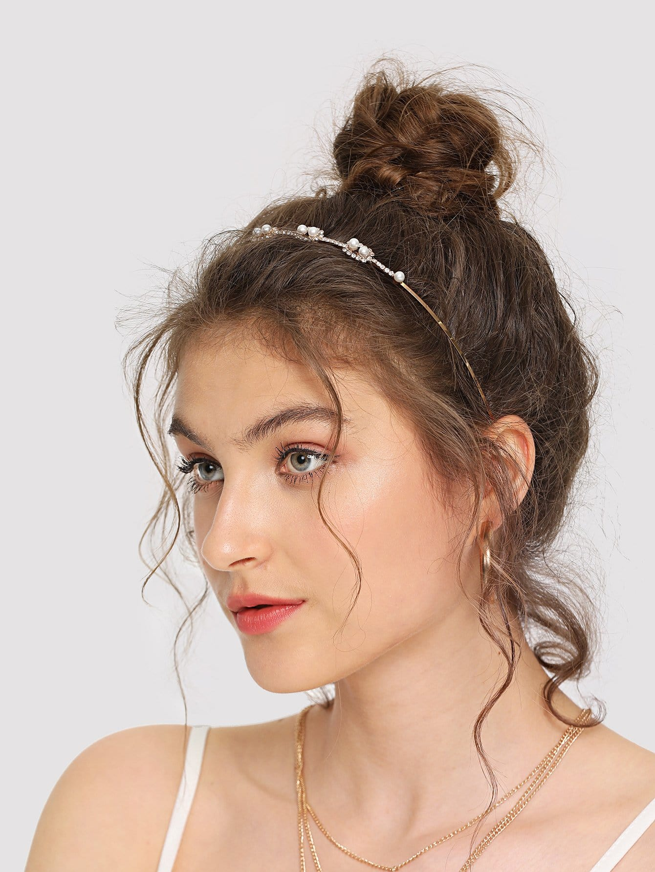 Rhinestones & Faux Pearl Design Headband halloween women cat ears faux rhinestones alloy headband hairbands girls hair head bands cute headband headwear accessories