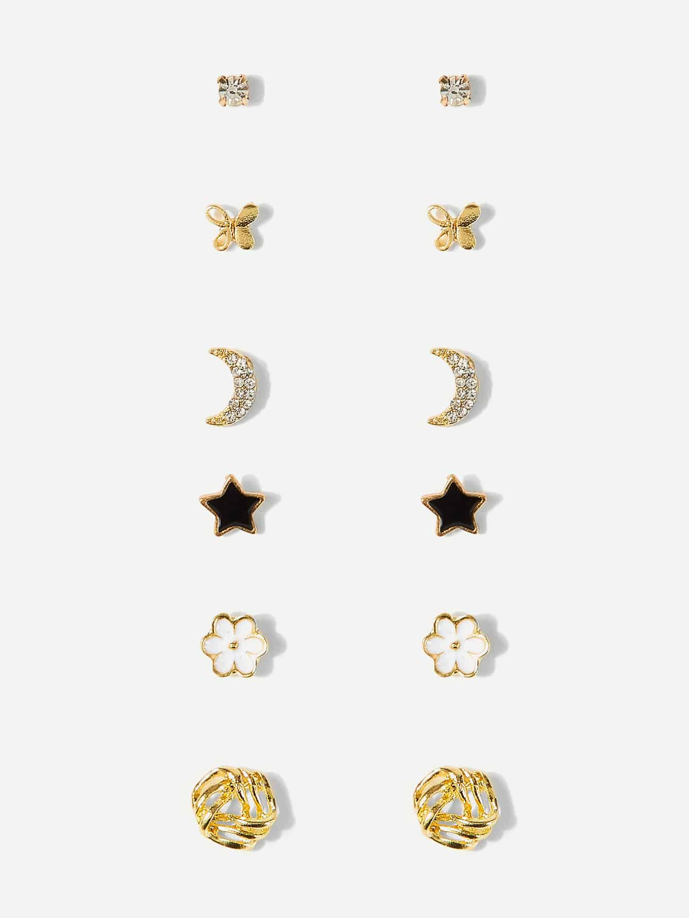 Butterfly & Moon Detail Stud Earrings 6pairs