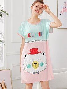 Cartoon Cat Pinstriped Dress
