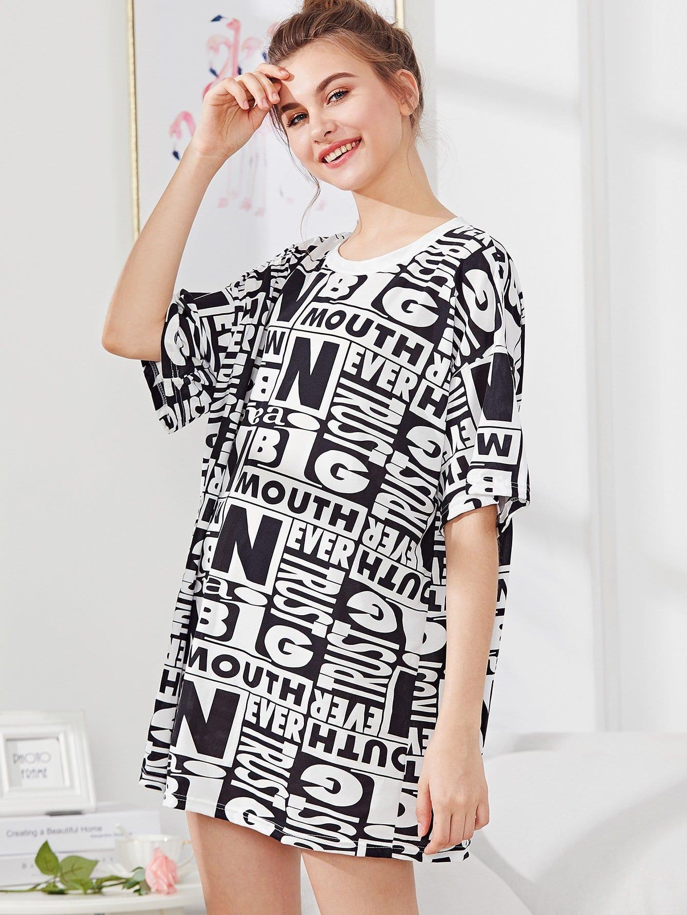 Allover Letter Print Dress allover bear print dress