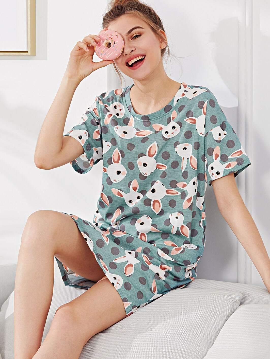 Rabbit Print Polka Dot Night Dress sweet kids satchel with rabbit and polka dot design