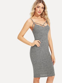 Crisscross Front Marled Knit Cami Dress