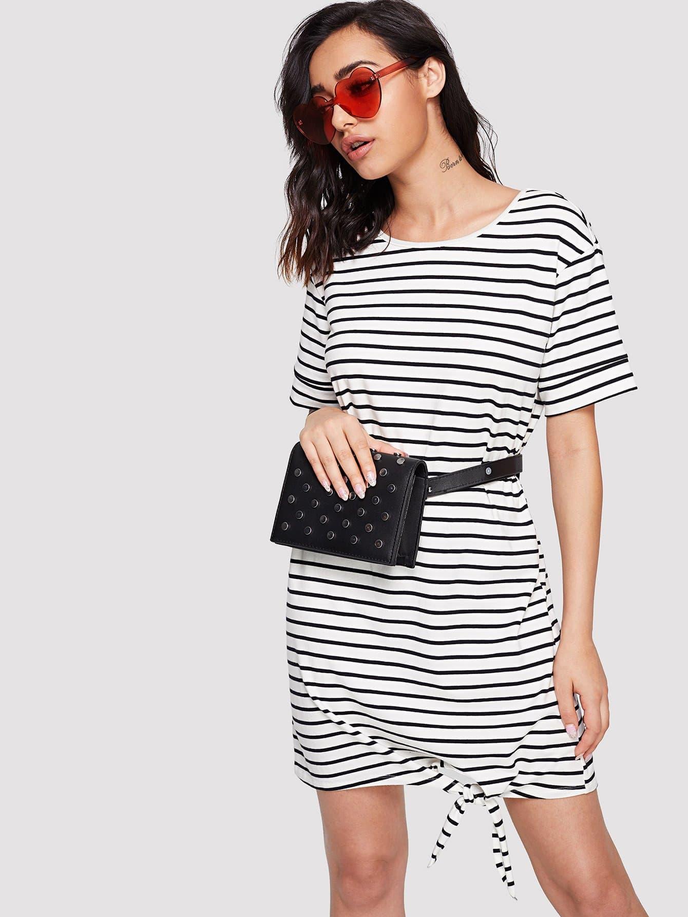 Striped Knot Hem Dress hollow out hem knot dress