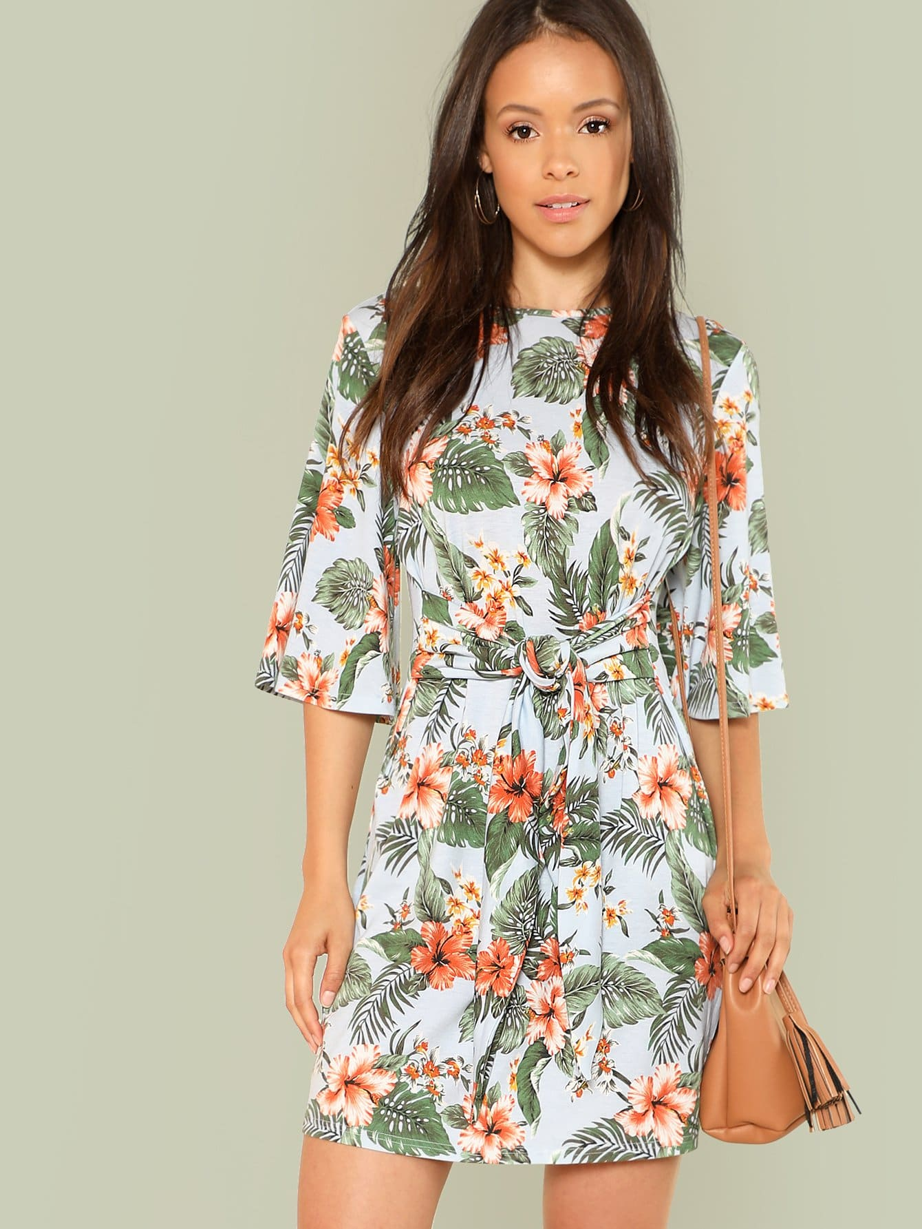 Knot Front Flutter Sleeve Floral Dress flutter sleeve elastic waist floral dress