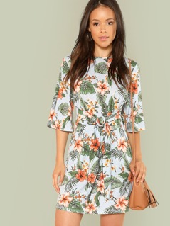 Knot Front Flutter Sleeve Floral Dress