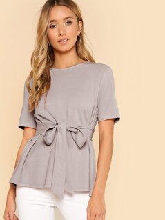 Button Keyhole Back Self Belt Top