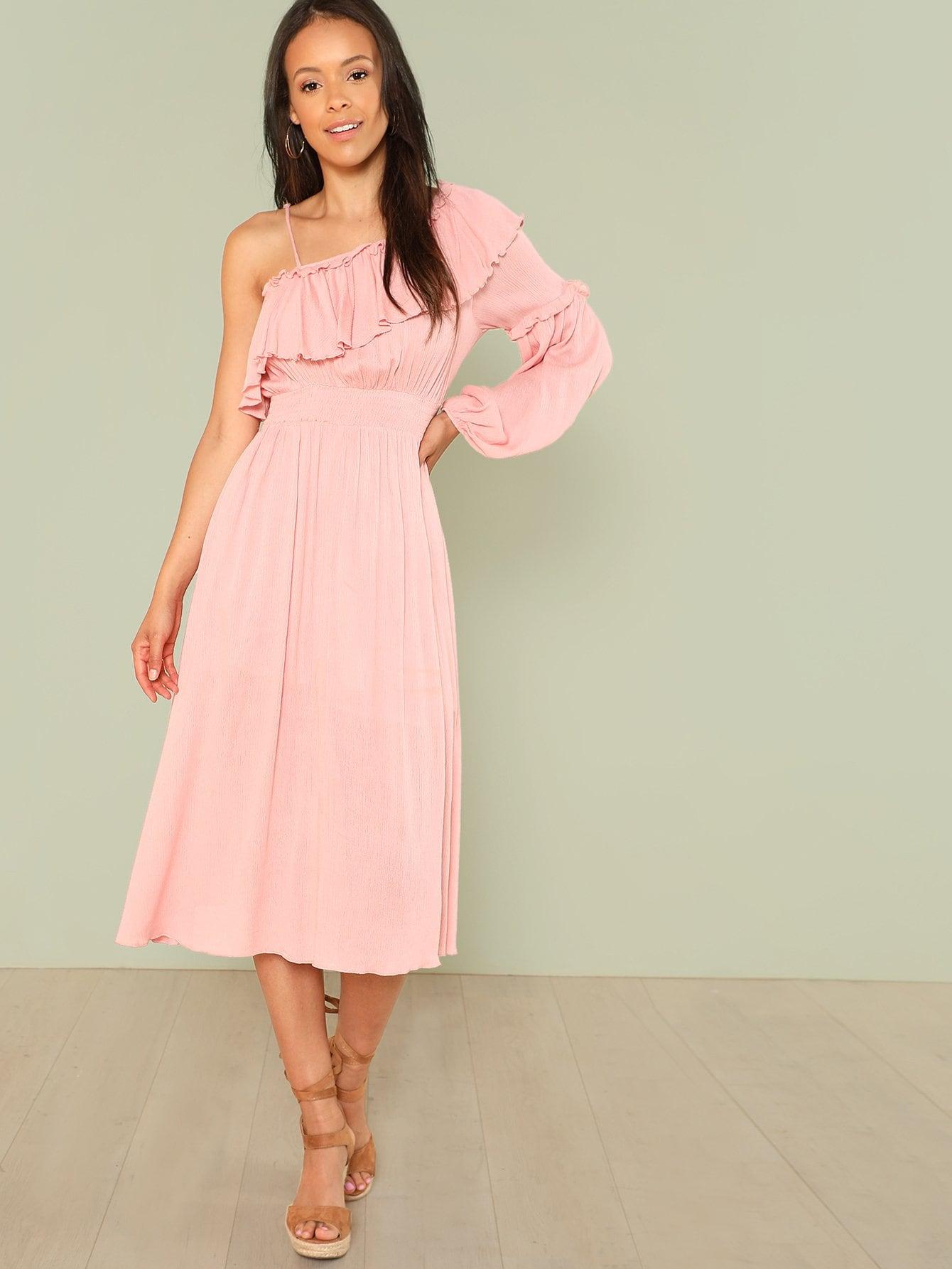 Asymmetrical Neck Flounce Sleeve Shirred Waist Dress