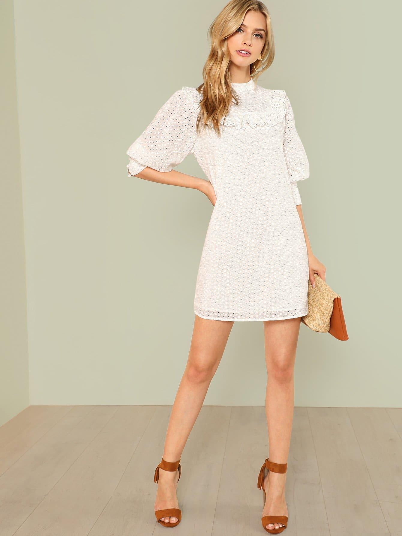 Купить Платье с оборками и лазерной вырезкой, Marina Laswick, SheIn