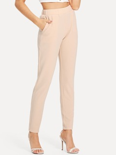 Elastic Waist Textured Cigarette Pants