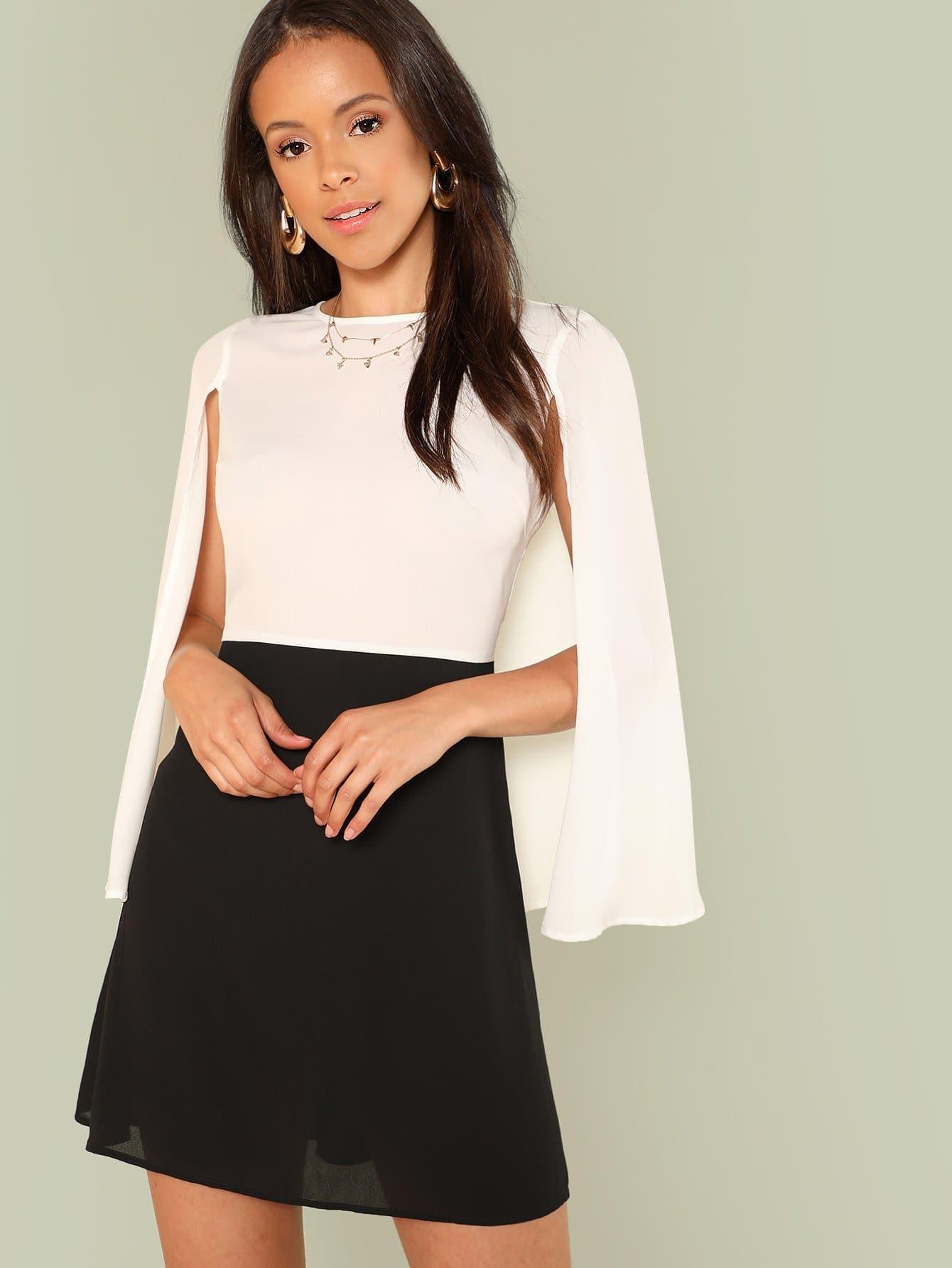 Two Tone Cape Sleeve Dress two tone letter print full length dress