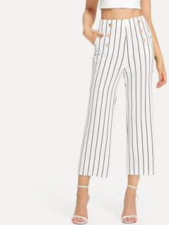 Double Button Striped Culotte Pants
