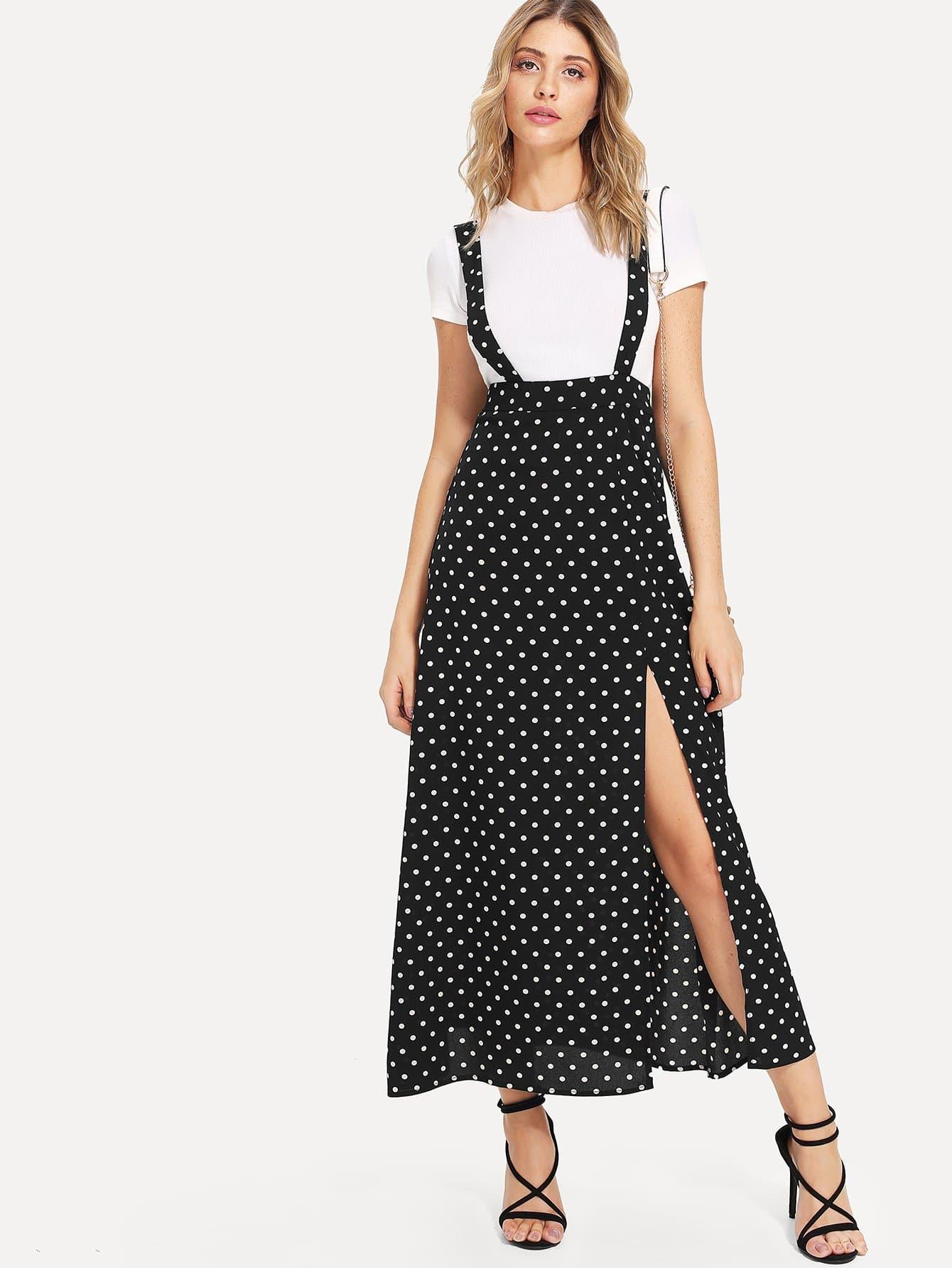 Split High Waist Polka Dot Pinafore Skirt high waist pocket patched dot skirt