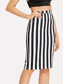 Wide Striped Pencil Skirt