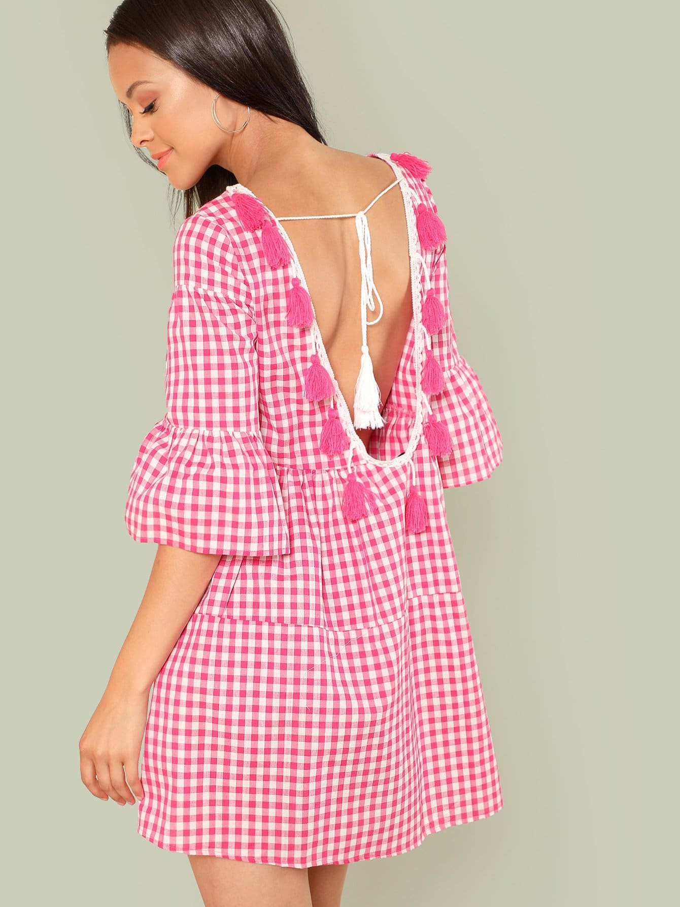 Tassel Tied Open Back Tiered Gingham Dress collared wrap front gingham tiered dress