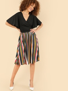 Flutter Sleeve Surplice Wrap Stripe Hem Dress