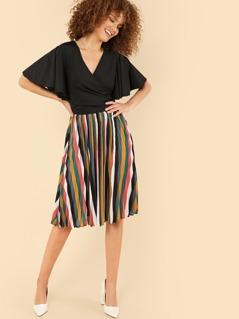 Flutter Sleeve Surplice Wrap Stripe Hem Dress