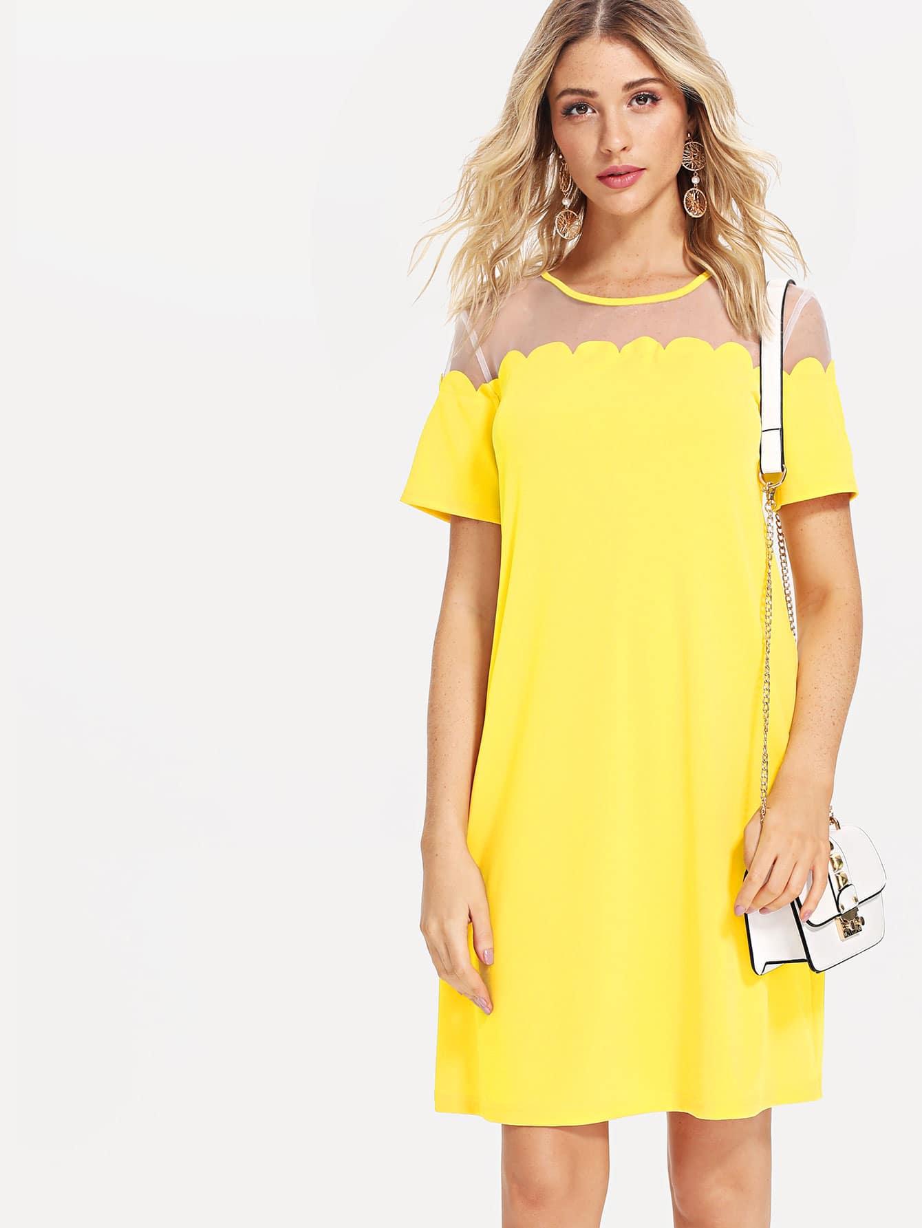 Mesh Yoke Scallop Trim Tunic Dress embroidered trim tunic dress