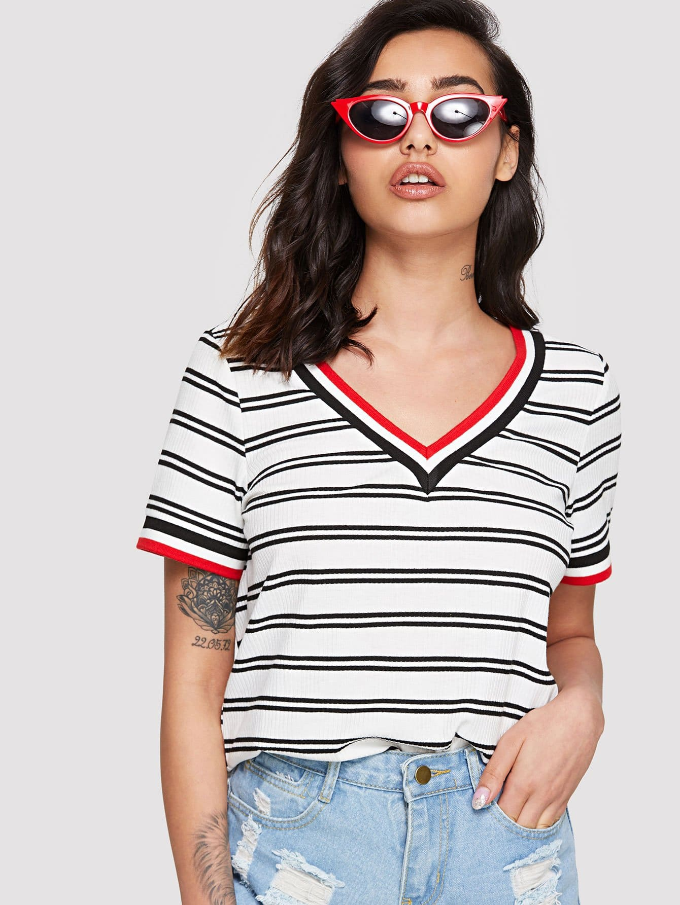 Rib Knit Striped Ringer T-shirt cutout front rib knit t shirt