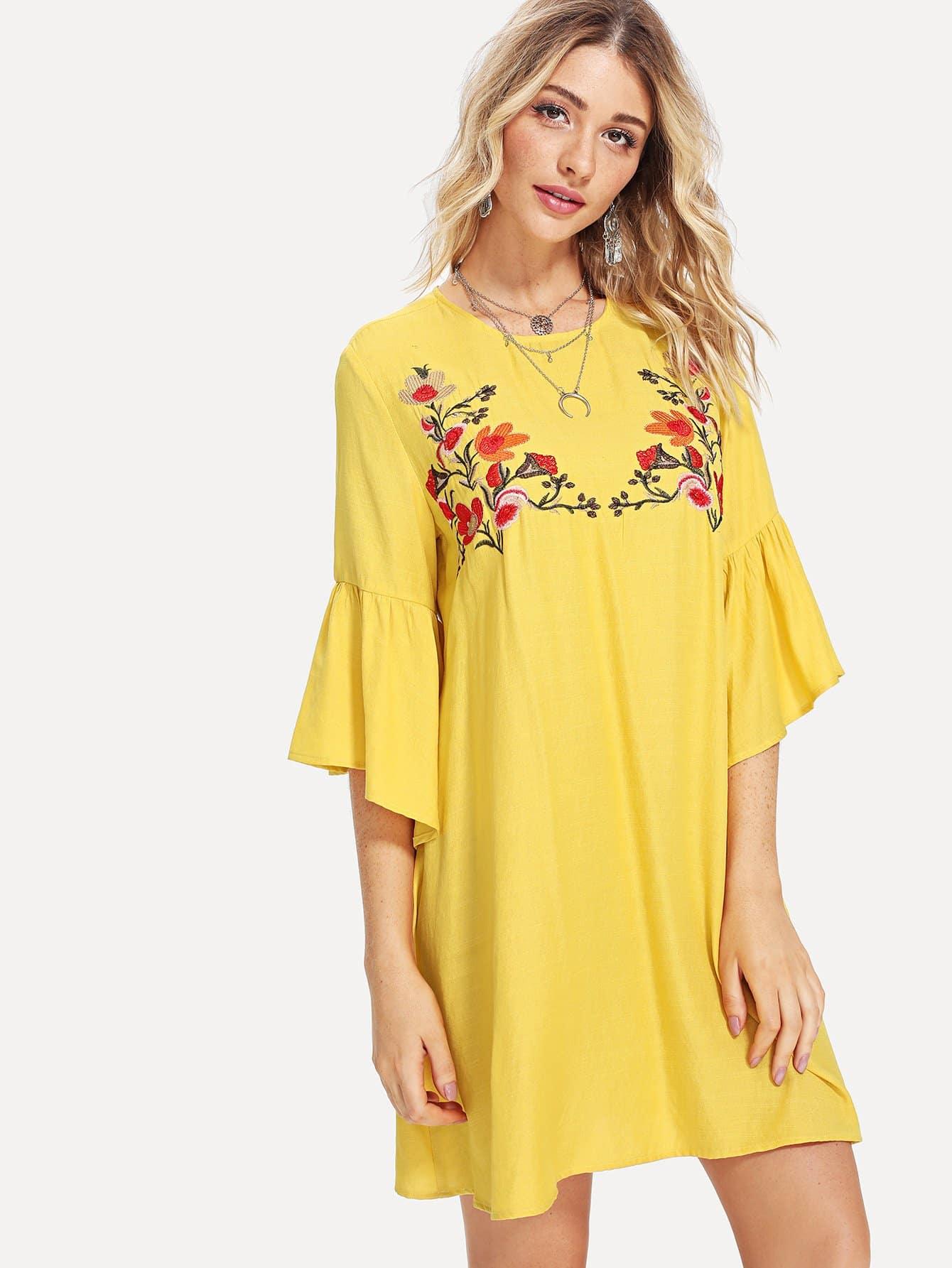 Купить Платье с вышивкой в цветочек и широкими рукавами, Nathane, SheIn