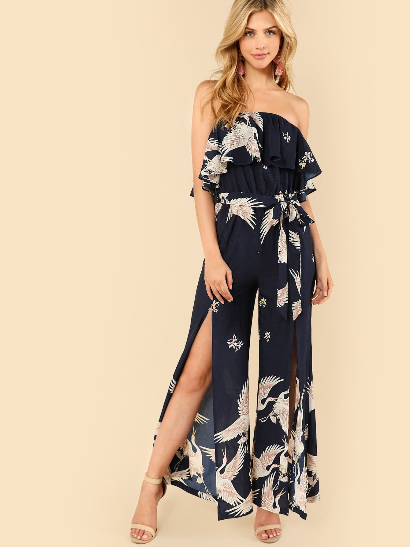 Flamingo Print Slit Hem Strapless Jumpsuit flamingo print wrap jumpsuit