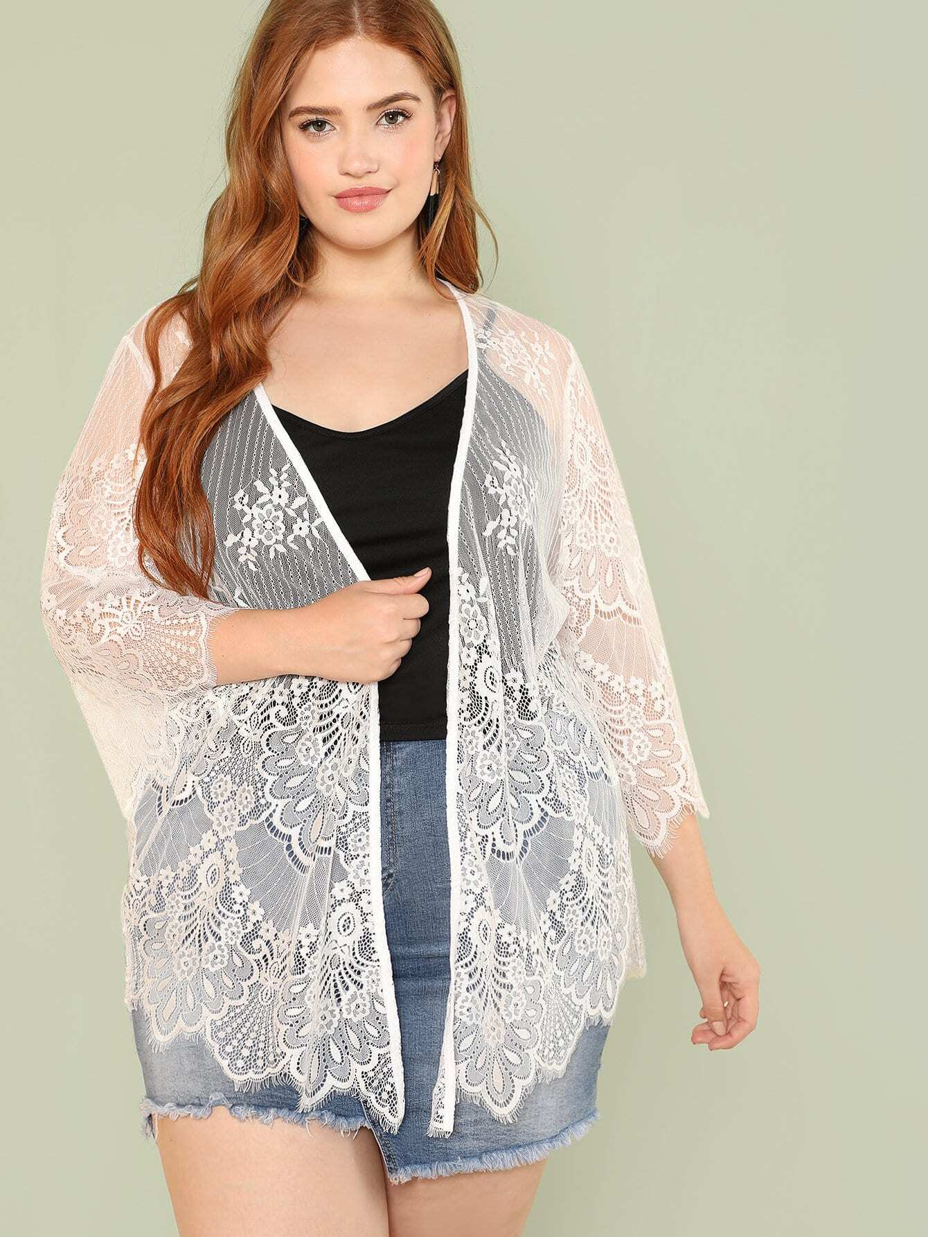 Sheer Floral Lace Kimono floral lace sheer top