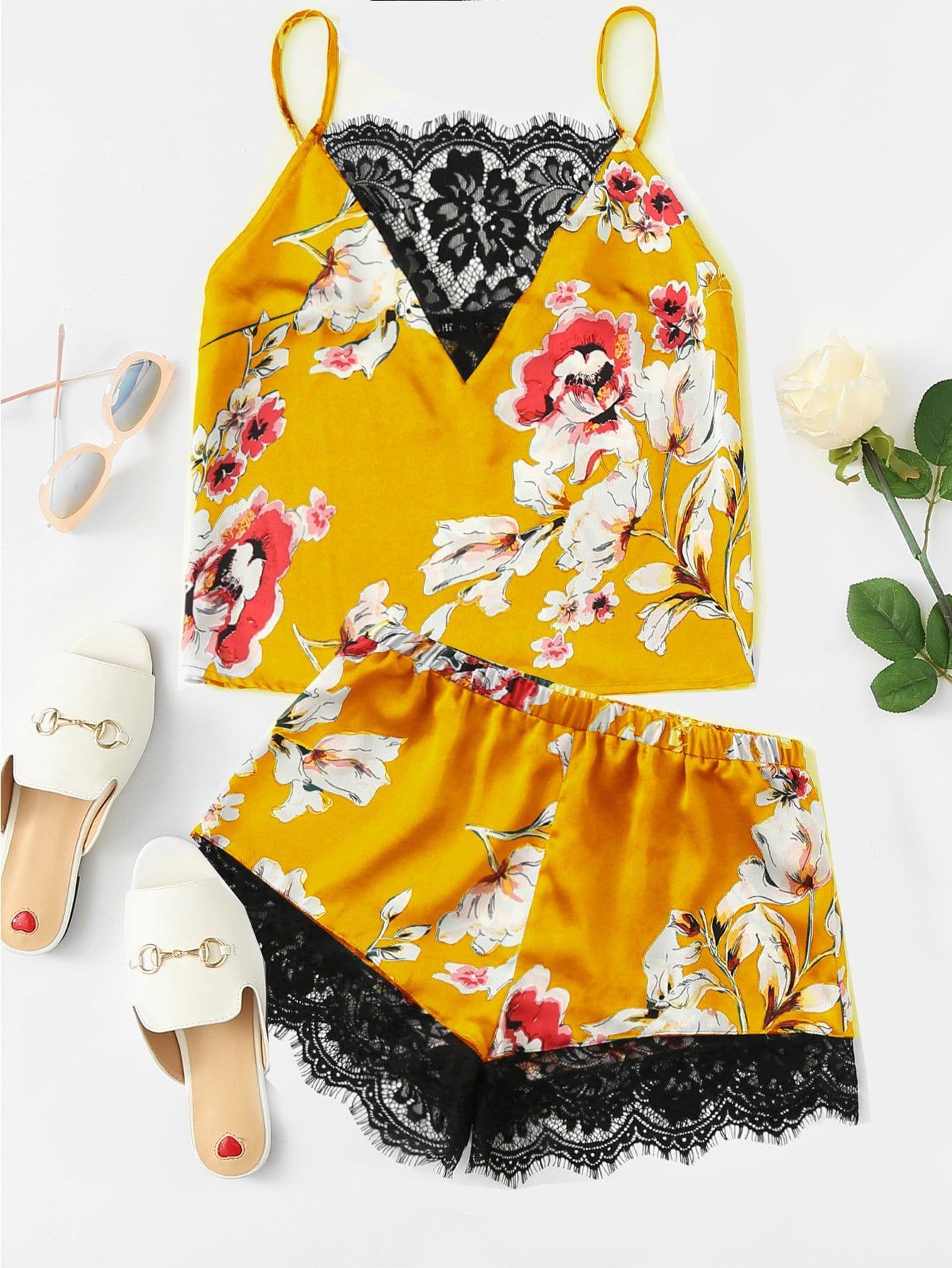 Floral Print Lace Insert Cami Top & Shorts PJ Set hanky hem floral print cami tank top
