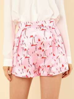 Pleated Flamingo Print Shorts