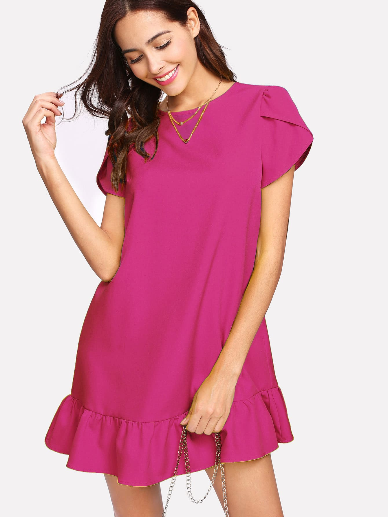 Petal Sleeve Ruffle Hem Dress цены