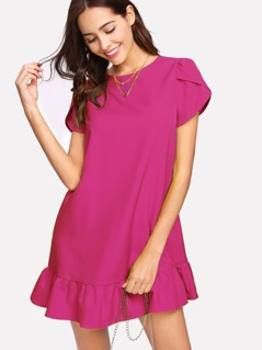 Petal Sleeve Ruffle Hem Dress
