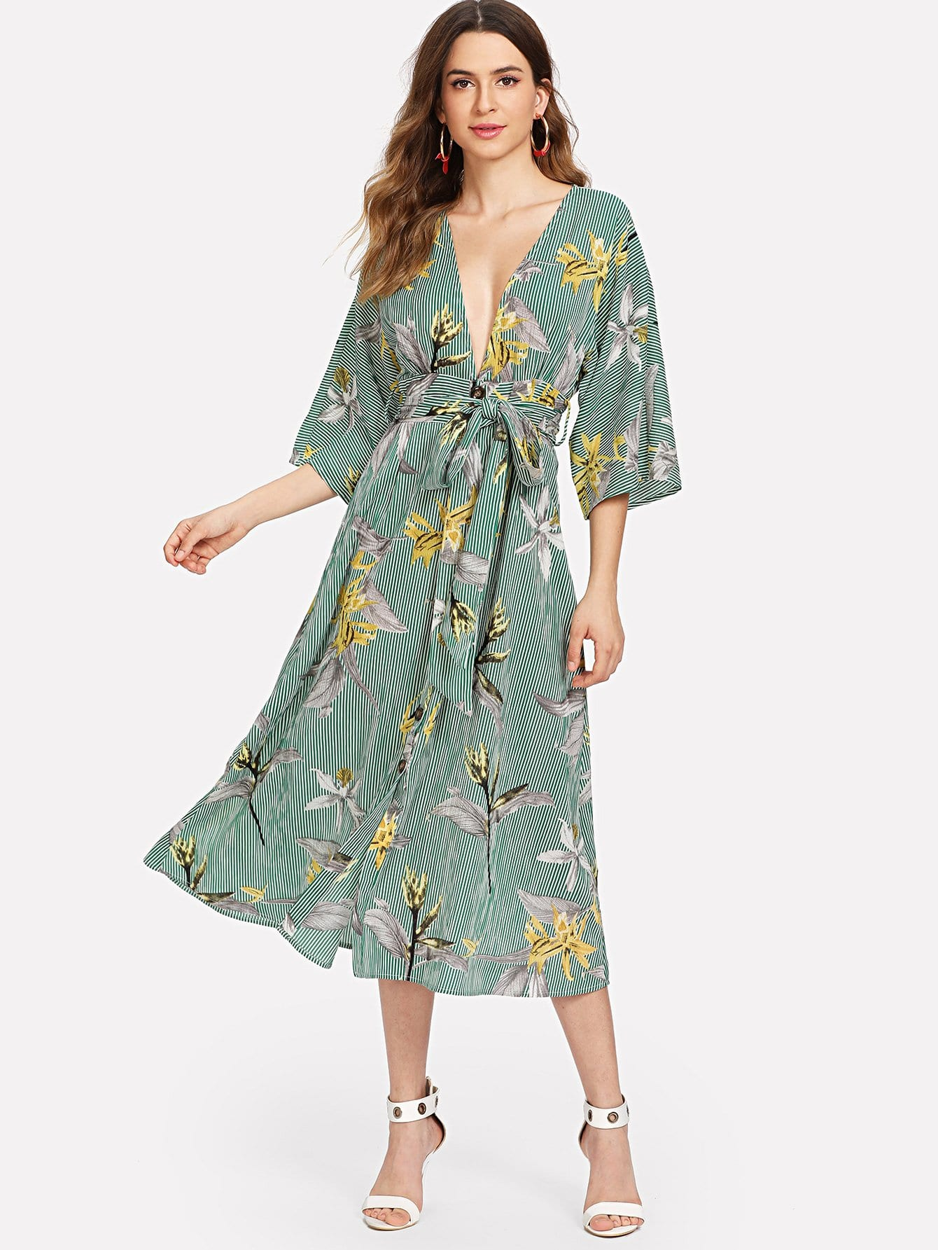 Mixed Print Plunging Neck Self Belted Dress mixed print plunging neck self belted dress