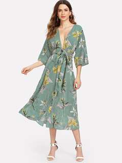 Mixed Print Plunging Neck Self Belted Dress