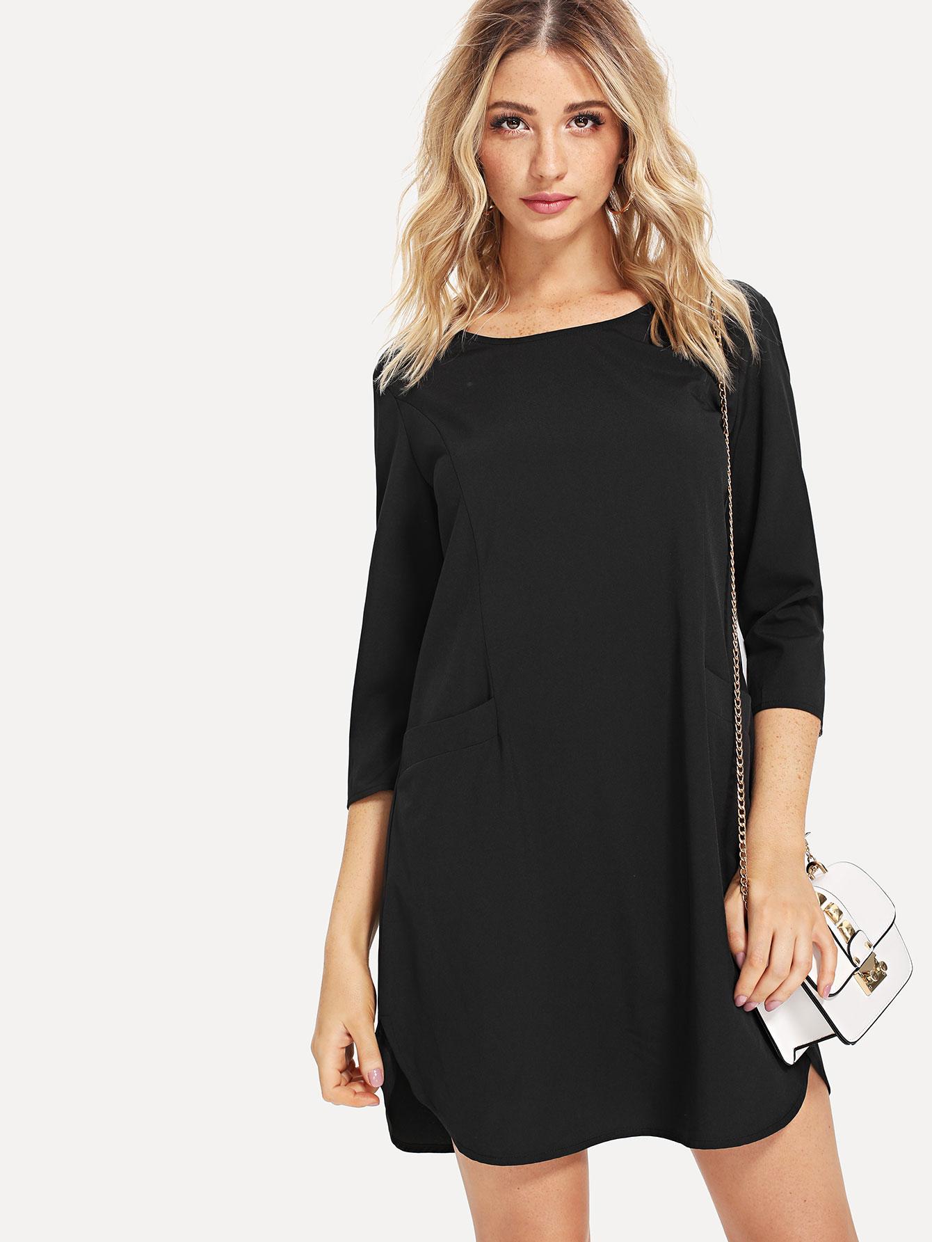Keyhole Back Pocket Front Curved Hem Dress pocket front curved hem wrap trench dress