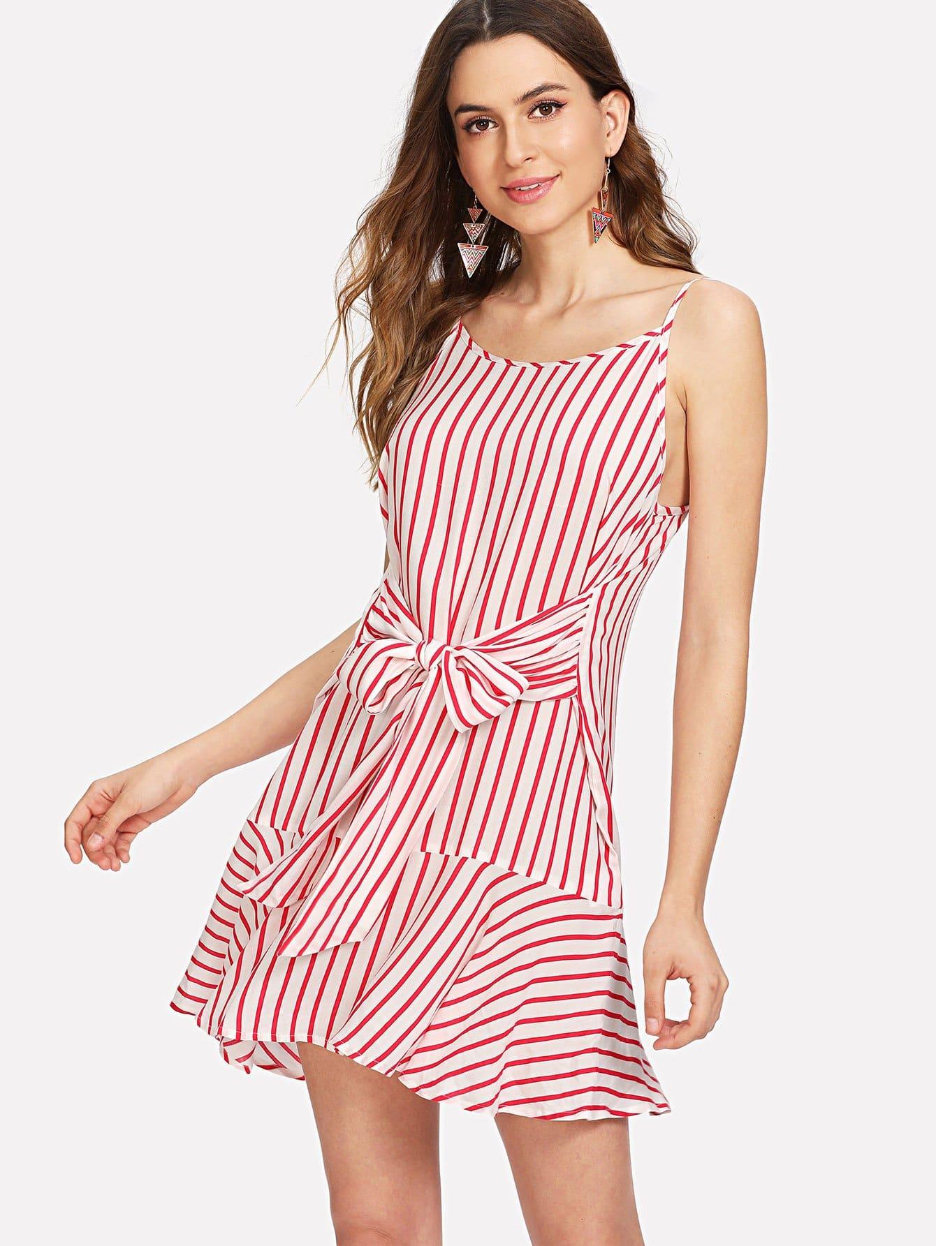 Bow Tie Front Ruffle Hem Striped Dress ruffle strap and hem striped dress