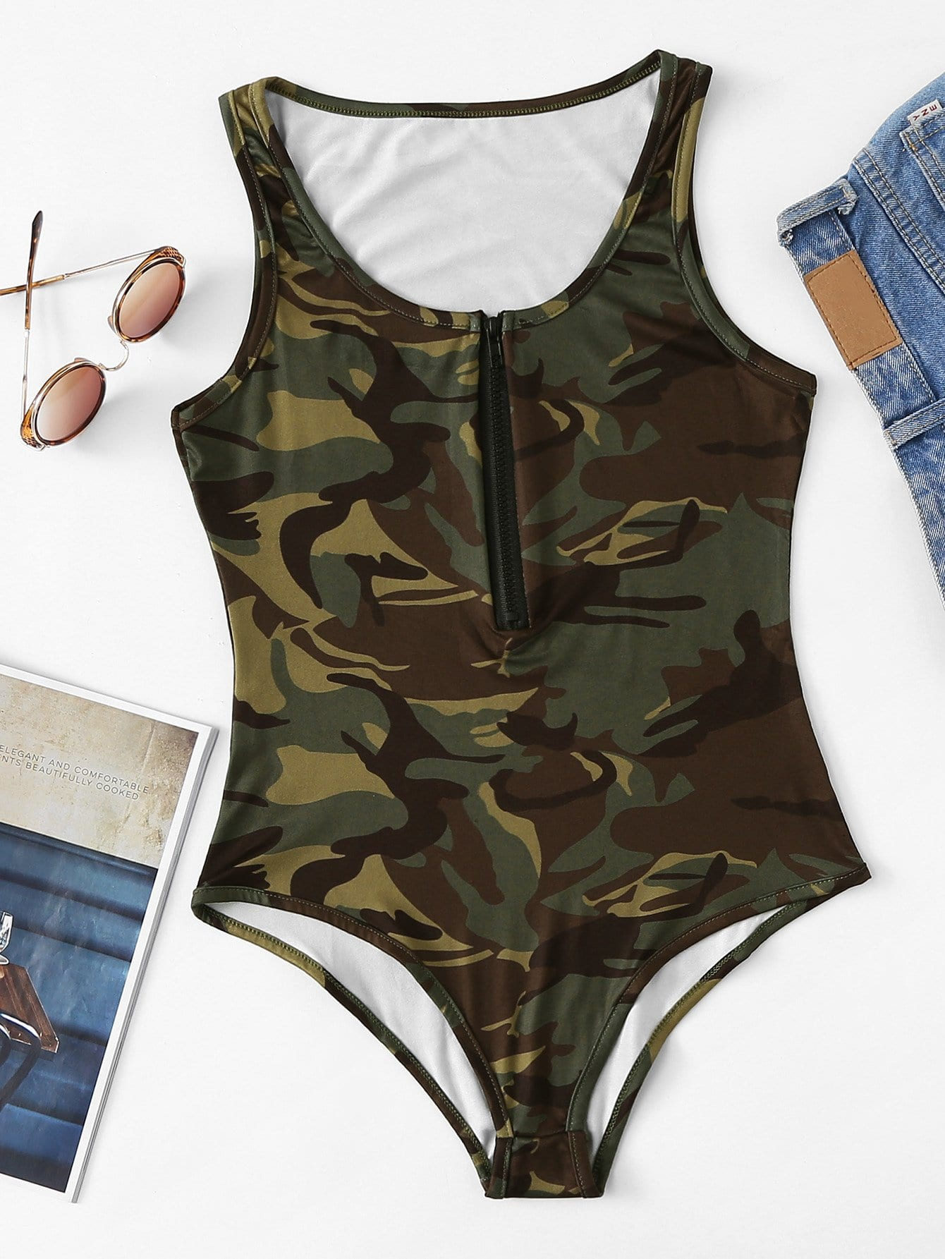 Zip Front Camo Tank Bodysuit zip front tank dress