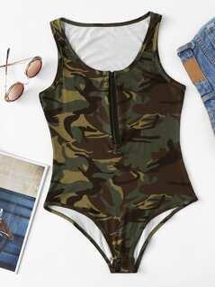 Zip Front Camo Tank Bodysuit