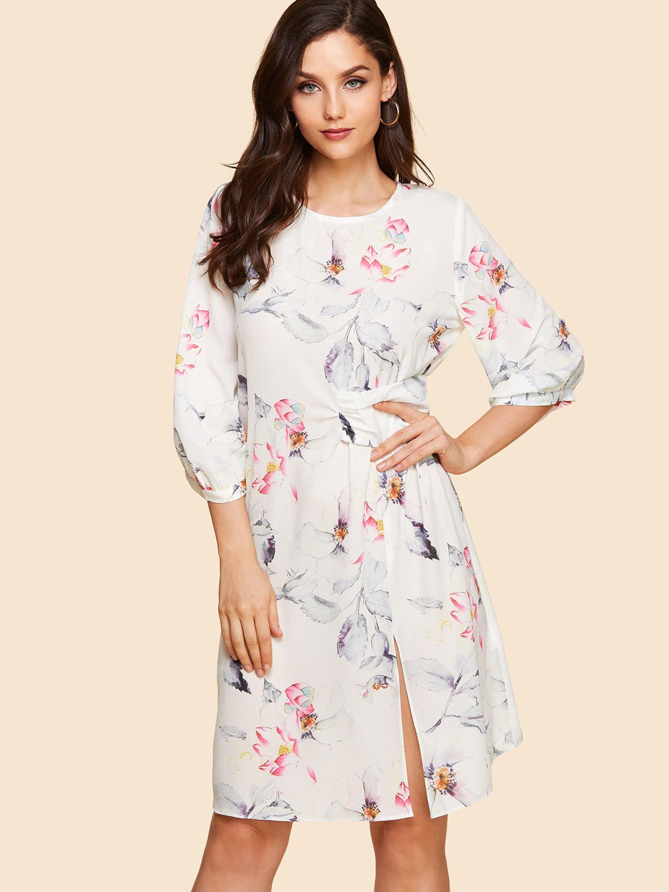 Twist Detail Bishop Sleeve Floral Dress frill detail bishop sleeve tiered botanical dress