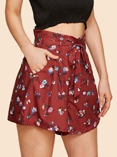 Tie Waist Floral Wide Leg Shorts