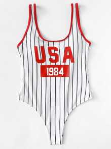 Letter and Striped Print Contrast Binding Swimsuit