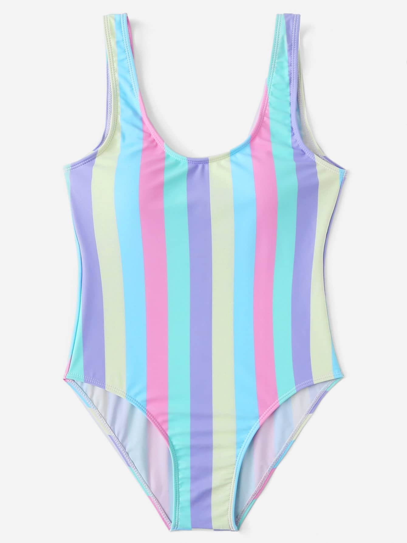 Striped Print Scoop Neck Swimsuit lobster print striped swimsuit