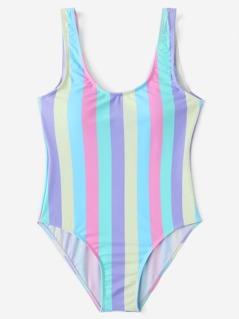 Striped Print Scoop Neck Swimsuit