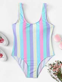 Striped Print Scoop Neck One Piece Swimsuit