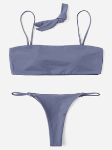 Adjustable Straps Solid Bikini Set