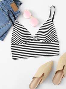 Striped Triangle Bralette Cami Top