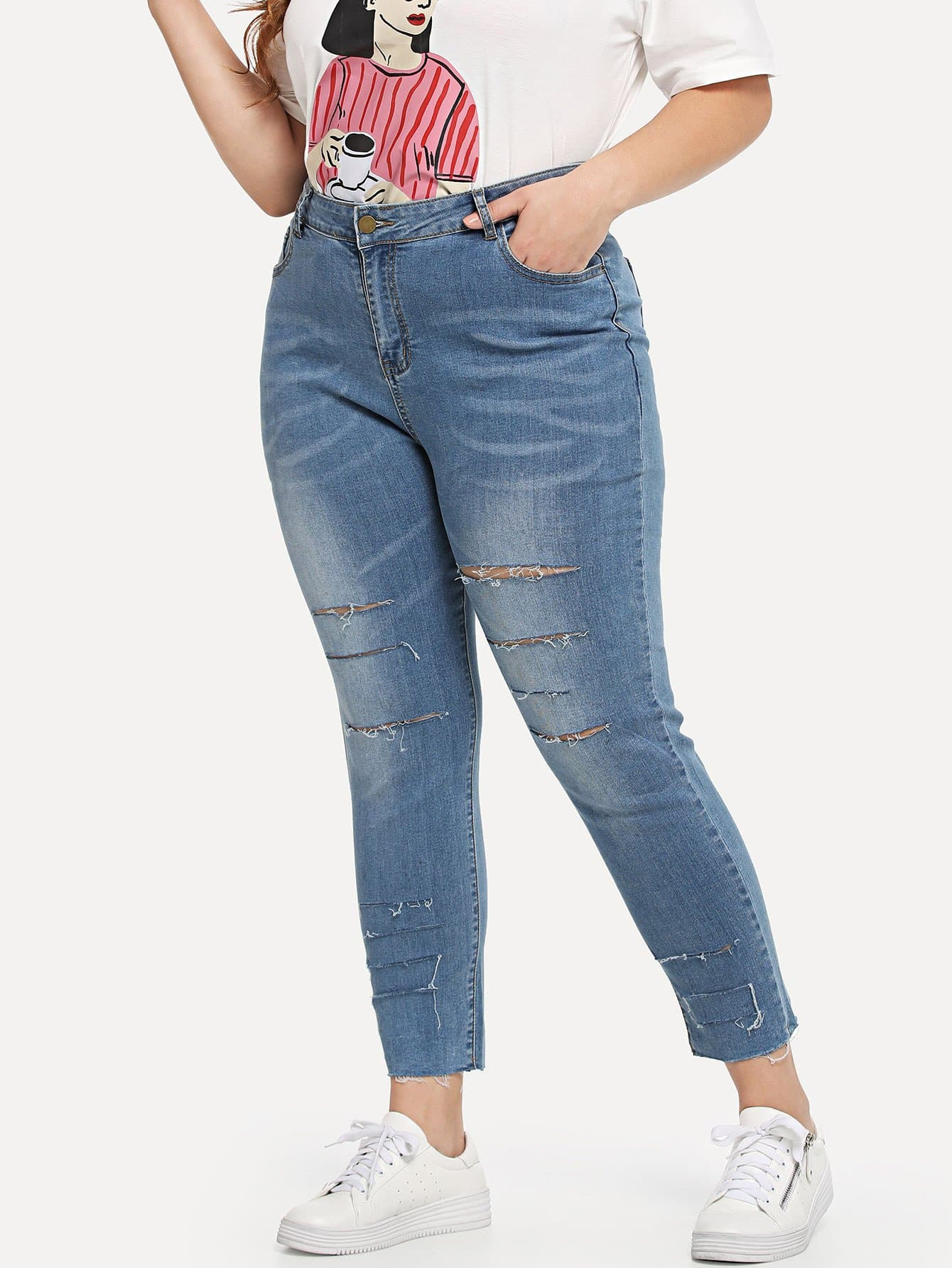 Plus Bleach Wash Rips Detail Jeans bleach wash destroyed jeans